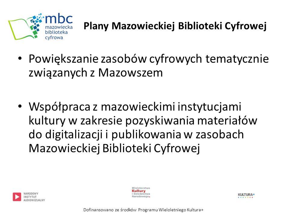 Dziękuję za uwagę Zachęcam do korzystania ze zbiorów Mazowieckiej Biblioteki Cyfrowej mbc.cyfrowemazowsze.pl Dofinansowano ze środków Programu Wieloletniego Kultura+