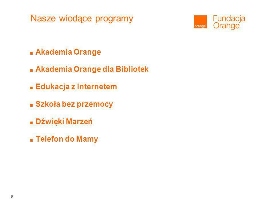 6 Nasze wiodące programy Akademia Orange Akademia Orange dla Bibliotek Edukacja z Internetem Szkoła bez przemocy Dźwięki Marzeń Telefon do Mamy