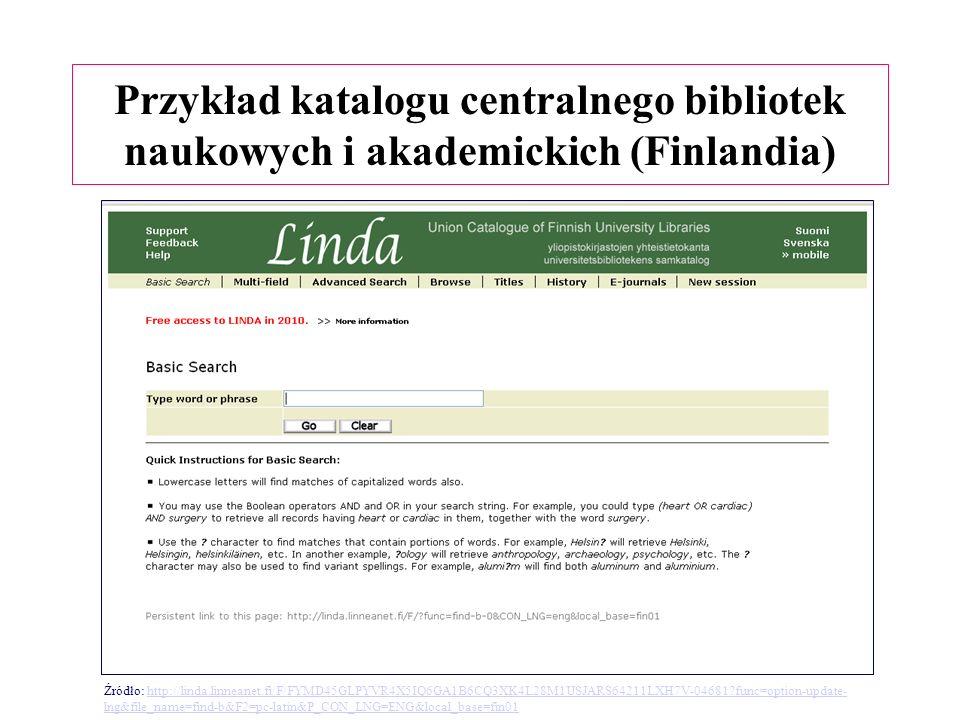 Przykład katalogu centralnego bibliotek naukowych i akademickich (Finlandia) Źródło: http://linda.linneanet.fi/F/FYMD45GLPYVR4X5IQ6GA1B6CQ3XK4L28M1USJARS64211LXH7V-04681?func=option-update- lng&file_name=find-b&F2=pc-latin&P_CON_LNG=ENG&local_base=fin01http://linda.linneanet.fi/F/FYMD45GLPYVR4X5IQ6GA1B6CQ3XK4L28M1USJARS64211LXH7V-04681?func=option-update- lng&file_name=find-b&F2=pc-latin&P_CON_LNG=ENG&local_base=fin01