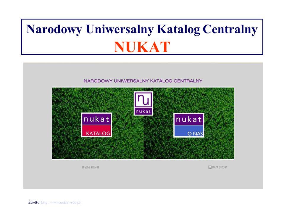 Narodowy Uniwersalny Katalog Centralny NUKAT Źródło: http://www.nukat.edu.pl/http://www.nukat.edu.pl/