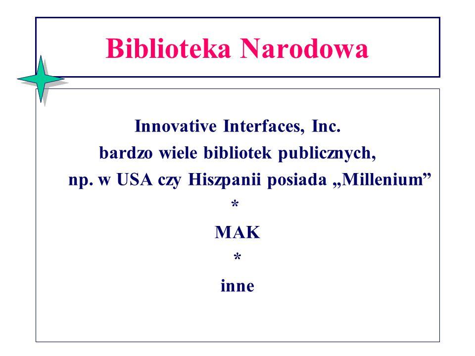 Biblioteka Narodowa Innovative Interfaces, Inc.bardzo wiele bibliotek publicznych, np.