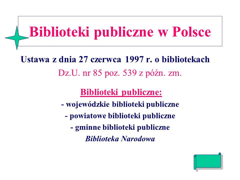 Biblioteki publiczne w Polsce Ustawa z dnia 27 czerwca 1997 r.