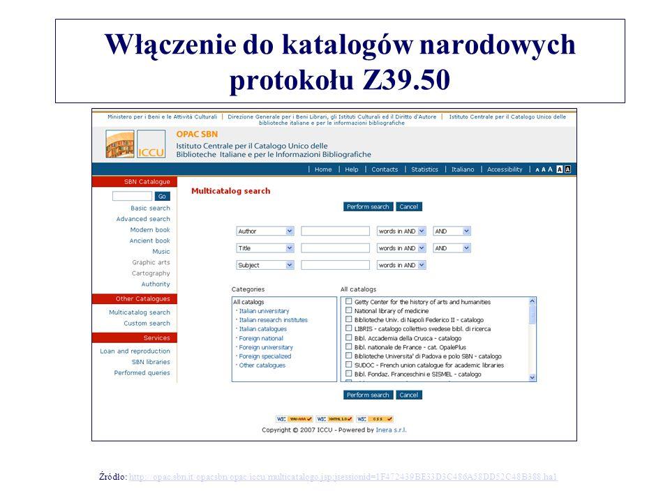 Włączenie do katalogów narodowych protokołu Z39.50 Źródło: http://opac.sbn.it/opacsbn/opac/iccu/multicatalogo.jsp;jsessionid=1F472439BE33D3C486A58DD52C48B388.ha1http://opac.sbn.it/opacsbn/opac/iccu/multicatalogo.jsp;jsessionid=1F472439BE33D3C486A58DD52C48B388.ha1