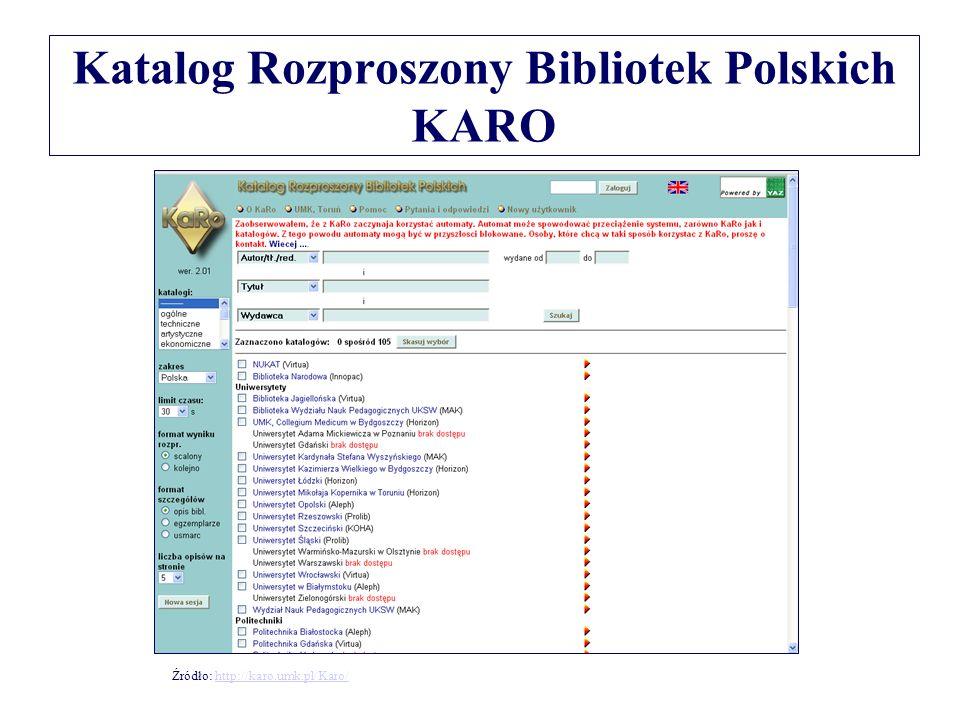 Katalog Rozproszony Bibliotek Polskich KARO Źródło: http://karo.umk.pl/Karo/http://karo.umk.pl/Karo/