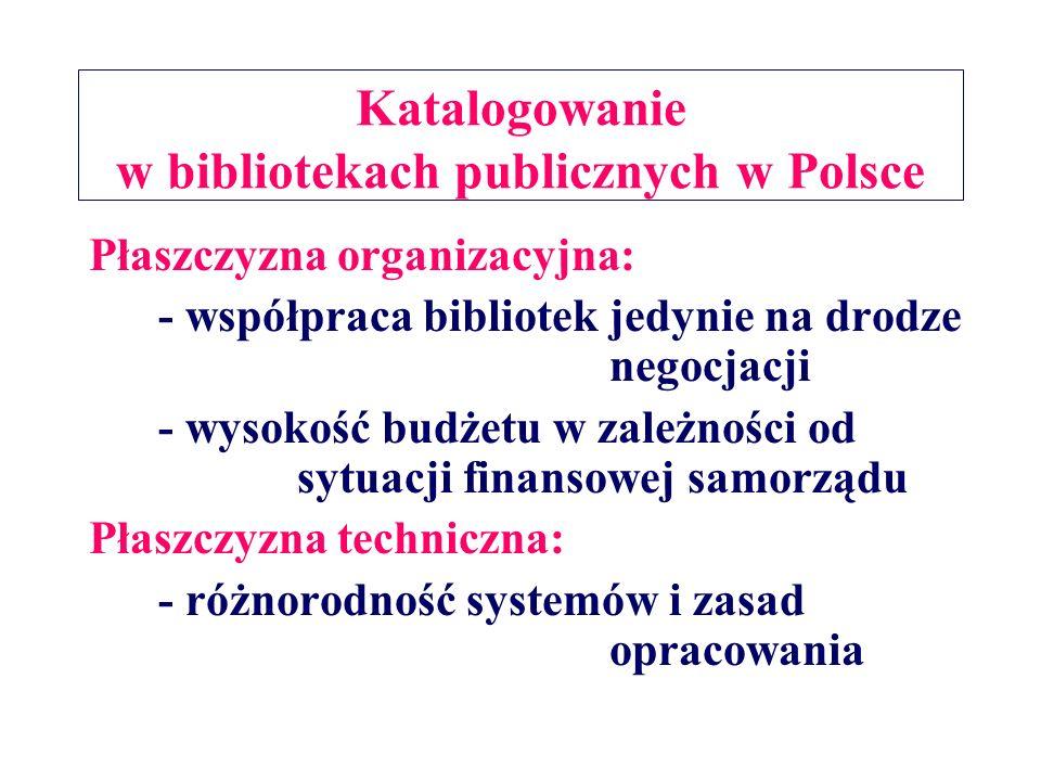 Katalogowanie w bibliotekach publicznych w Polsce Płaszczyzna organizacyjna: - współpraca bibliotek jedynie na drodze negocjacji - wysokość budżetu w zależności od sytuacji finansowej samorządu Płaszczyzna techniczna: - różnorodność systemów i zasad opracowania