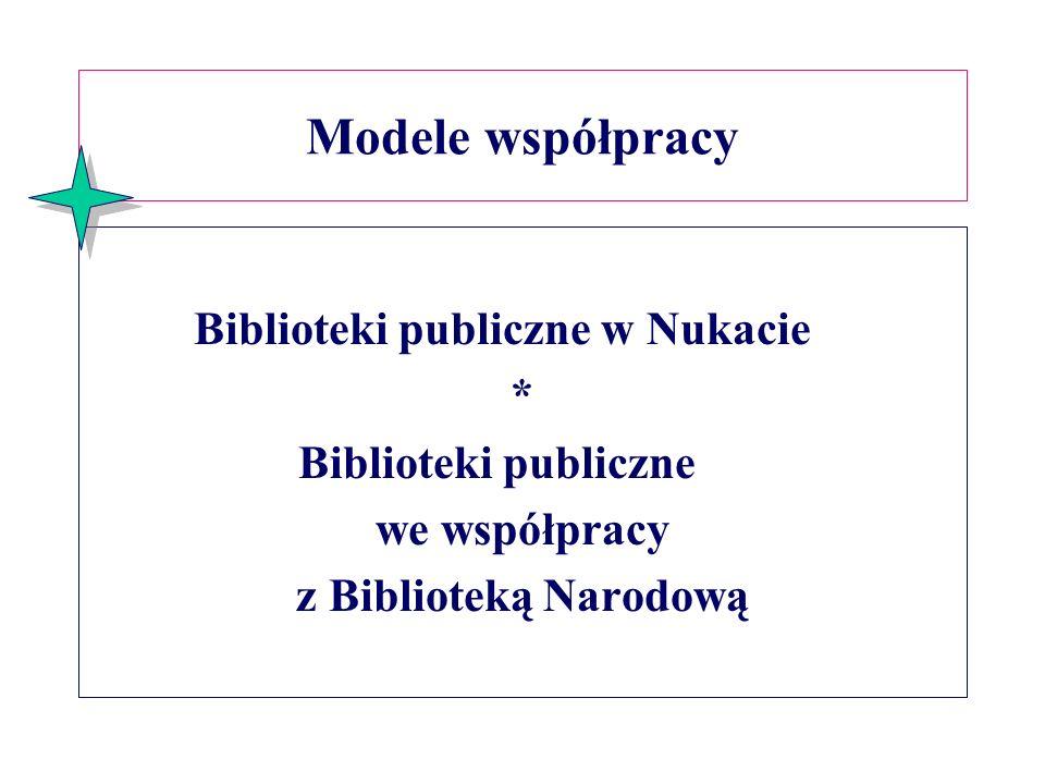 Modele współpracy Biblioteki publiczne w Nukacie * Biblioteki publiczne we współpracy z Biblioteką Narodową