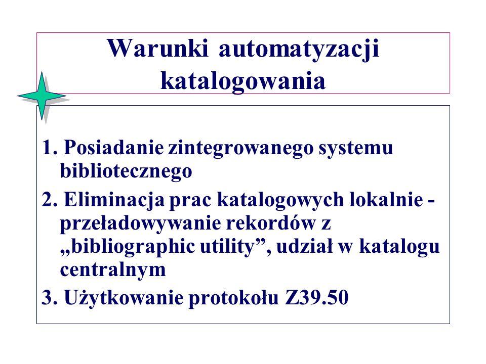 Warunki automatyzacji katalogowania 1.Posiadanie zintegrowanego systemu bibliotecznego 2.