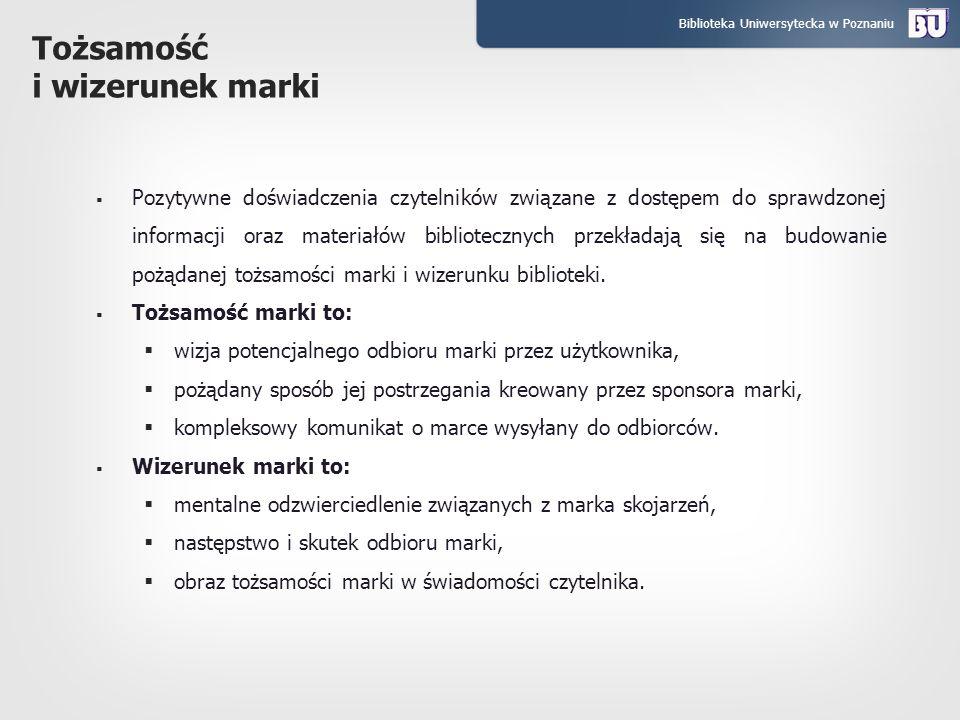 Biblioteka Uniwersytecka w Poznaniu Tożsamość i wizerunek marki Pozytywne doświadczenia czytelników związane z dostępem do sprawdzonej informacji oraz