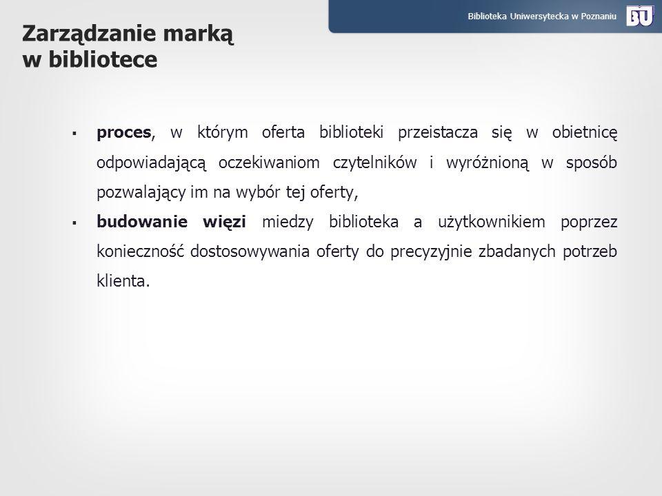 Biblioteka Uniwersytecka w Poznaniu Zarządzanie marką w bibliotece proces, w którym oferta biblioteki przeistacza się w obietnicę odpowiadającą oczeki