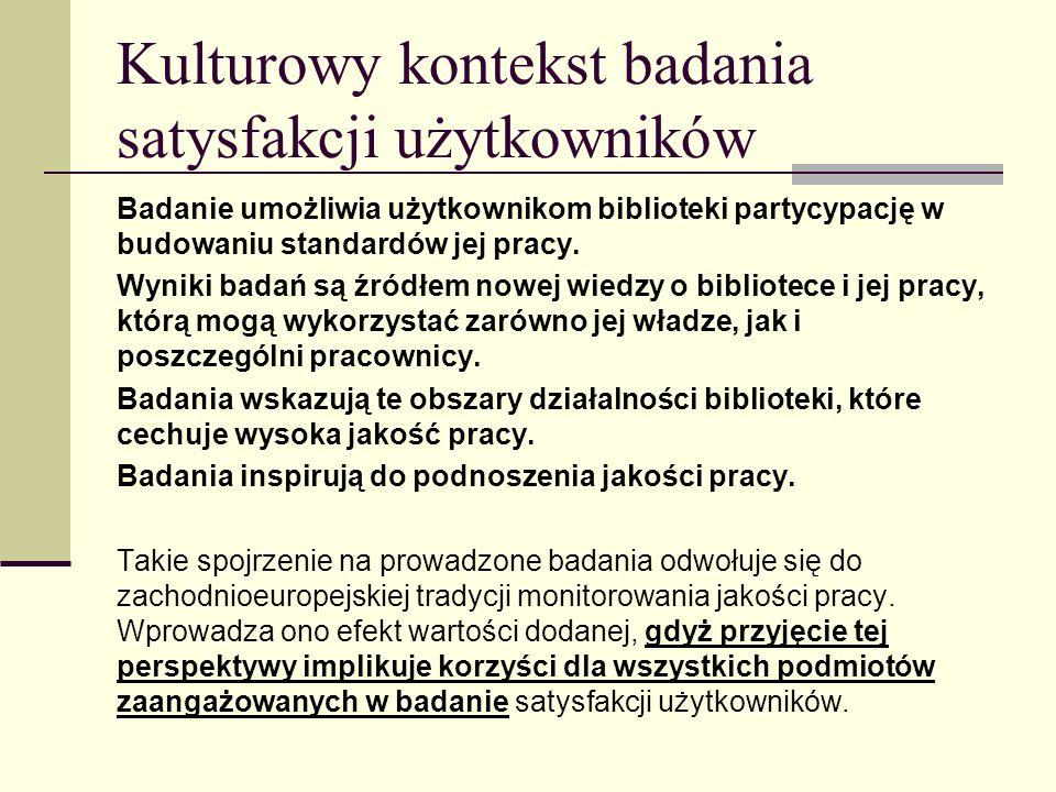 Kulturowy kontekst badania satysfakcji użytkowników Badanie umożliwia użytkownikom biblioteki partycypację w budowaniu standardów jej pracy.