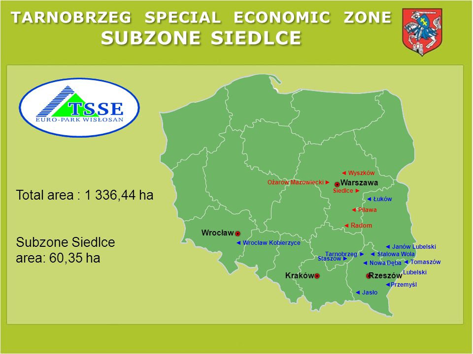 TARNOBRZEG SPECIAL ECONOMIC ZONE SUBZONE SIEDLCE PKP carrier terrain– Investment area: 1,2345 ha