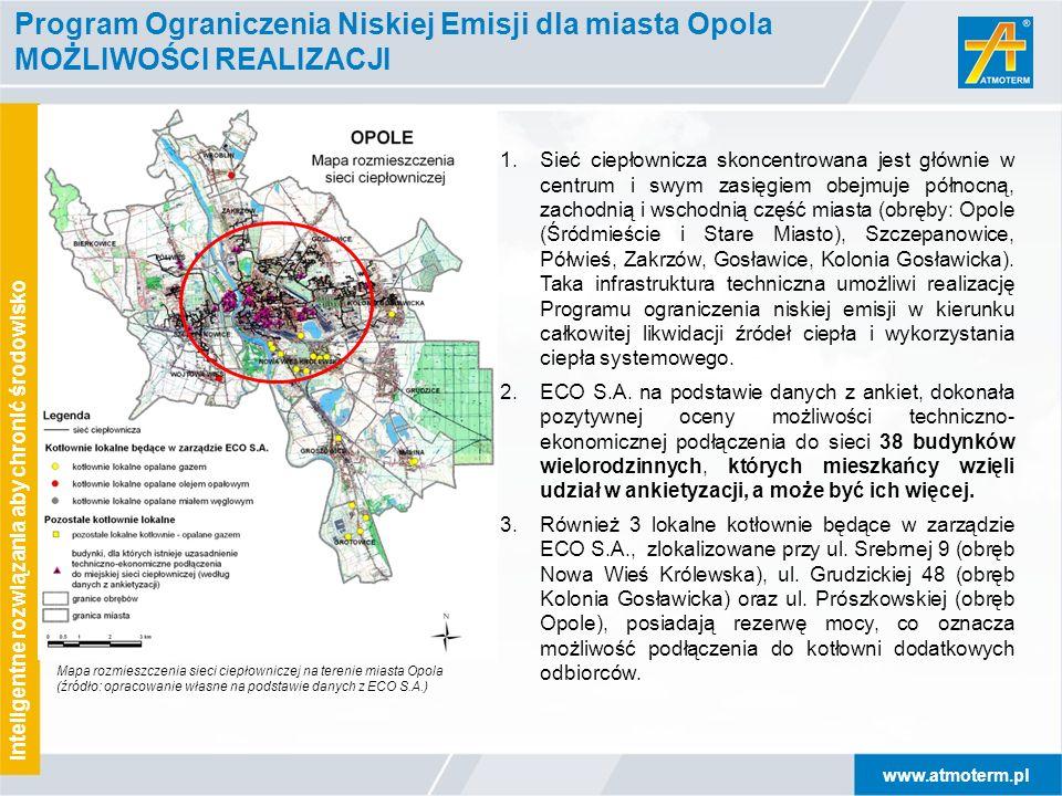 www.atmoterm.pl Inteligentne rozwiązania aby chronić środowisko Program Ograniczenia Niskiej Emisji dla miasta Opola MOŻLIWOŚCI REALIZACJI 1.Sieć ciep