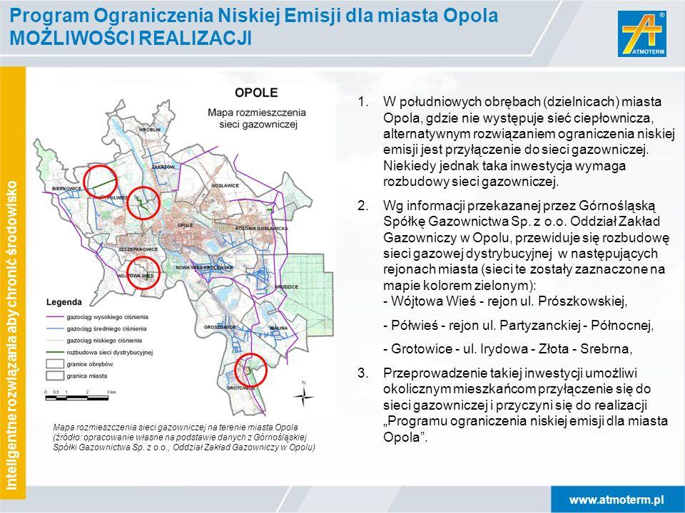 www.atmoterm.pl Inteligentne rozwiązania aby chronić środowisko Program Ograniczenia Niskiej Emisji dla miasta Opola MOŻLIWOŚCI REALIZACJI 1.W południ