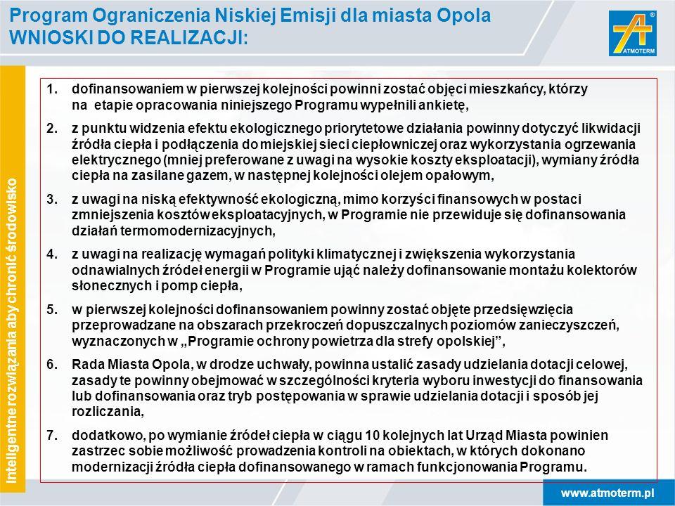 www.atmoterm.pl Inteligentne rozwiązania aby chronić środowisko Program Ograniczenia Niskiej Emisji dla miasta Opola WNIOSKI DO REALIZACJI: 1.dofinans