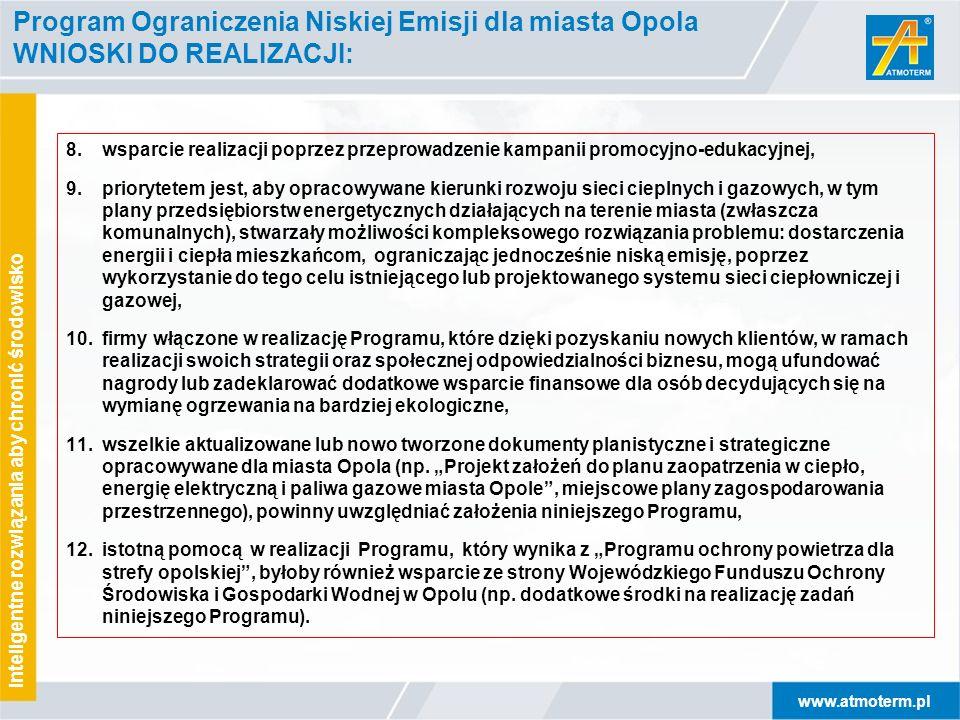 www.atmoterm.pl Inteligentne rozwiązania aby chronić środowisko Program Ograniczenia Niskiej Emisji dla miasta Opola WNIOSKI DO REALIZACJI: 8.wsparcie