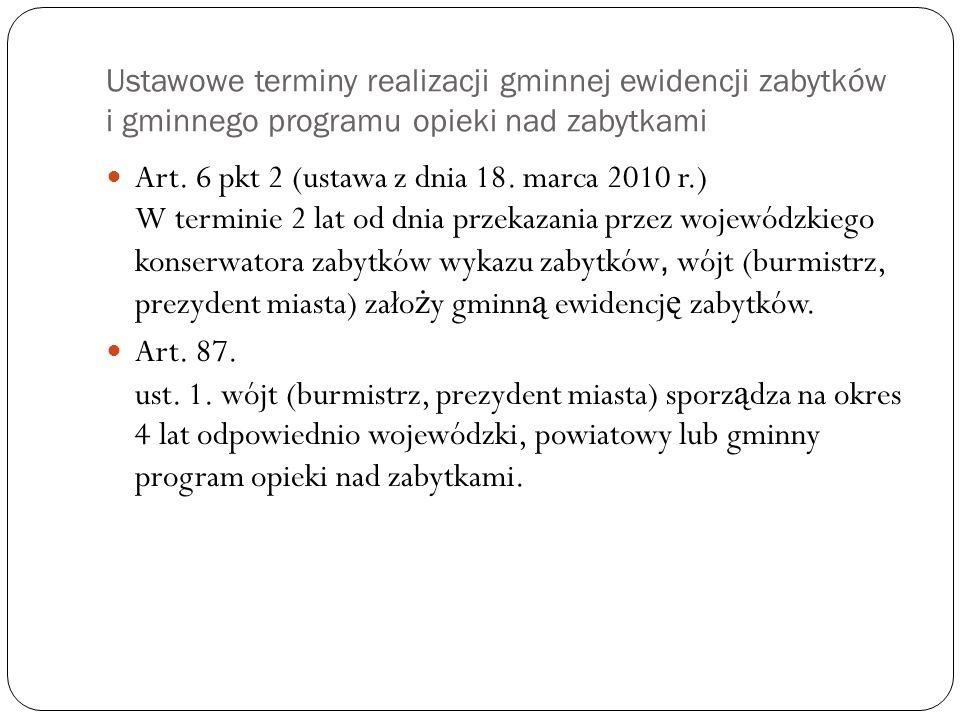 Ustawowe terminy realizacji gminnej ewidencji zabytków i gminnego programu opieki nad zabytkami Art. 6 pkt 2 (ustawa z dnia 18. marca 2010 r.) W termi