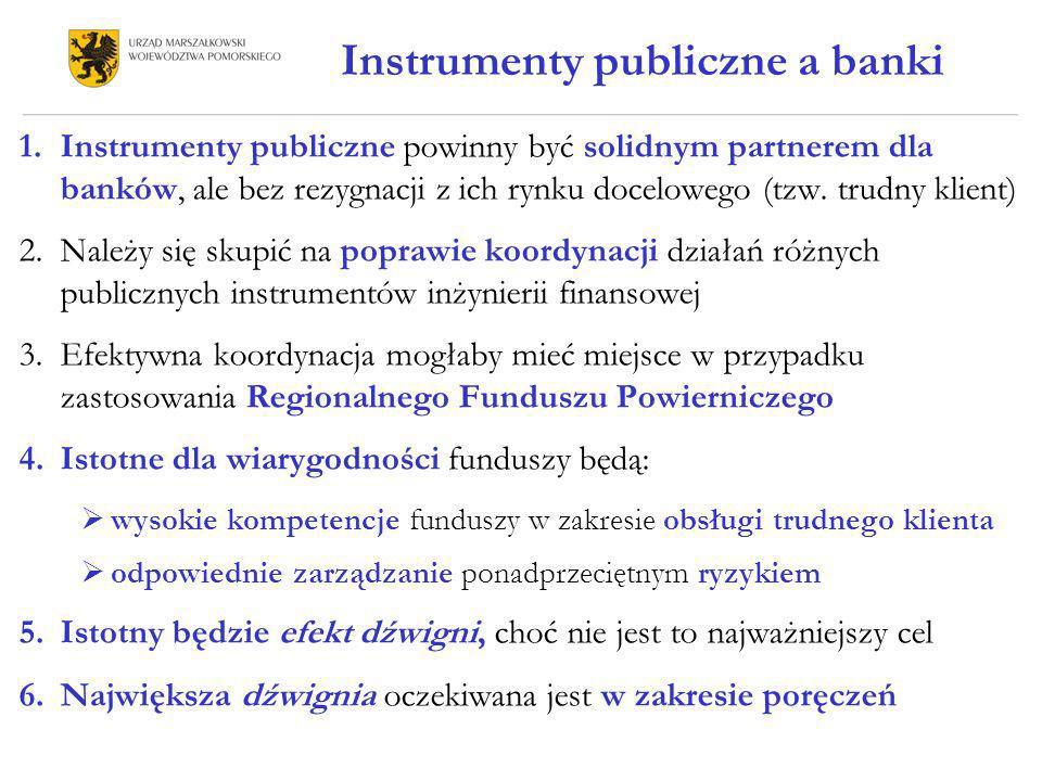 Instrumenty publiczne a banki 1.Instrumenty publiczne powinny być solidnym partnerem dla banków, ale bez rezygnacji z ich rynku docelowego (tzw. trudn