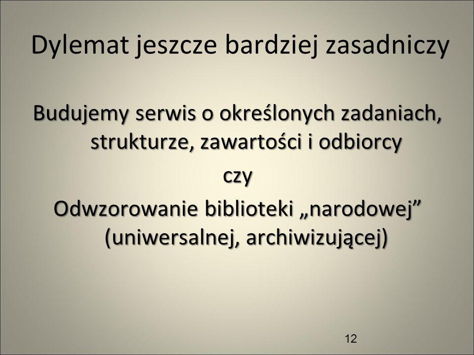 Dylemat jeszcze bardziej zasadniczy Budujemy serwis o określonych zadaniach, strukturze, zawartości i odbiorcy czy Odwzorowanie biblioteki narodowej (