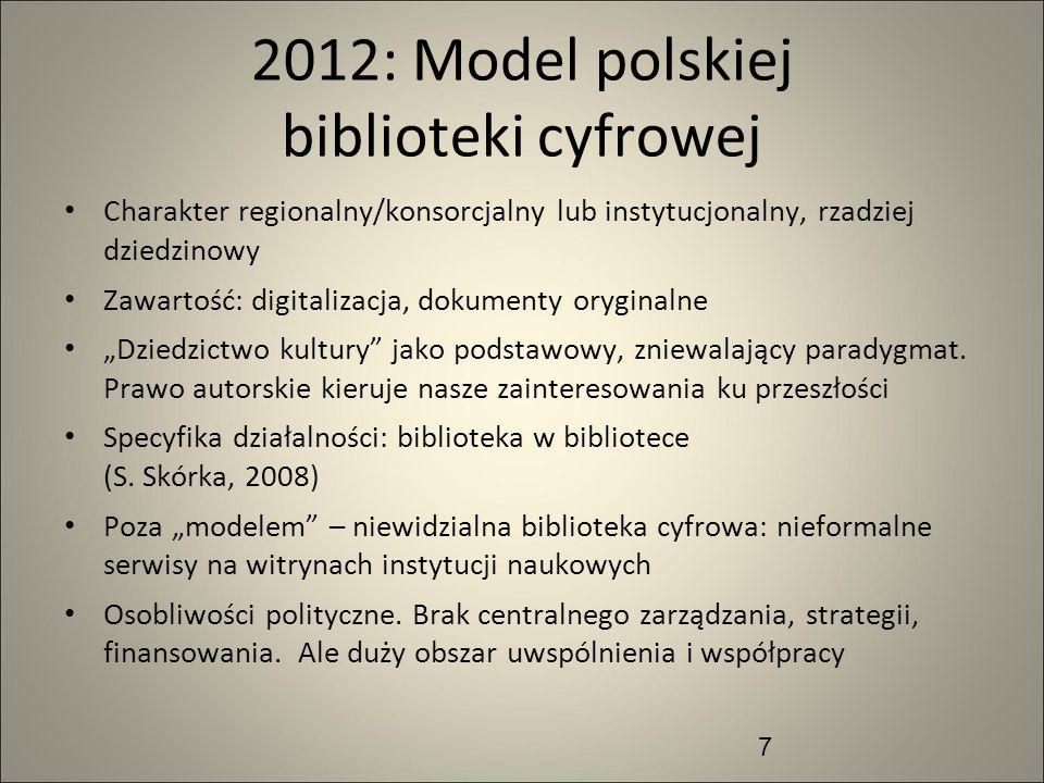7 2012: Model polskiej biblioteki cyfrowej Charakter regionalny/konsorcjalny lub instytucjonalny, rzadziej dziedzinowy Zawartość: digitalizacja, dokum