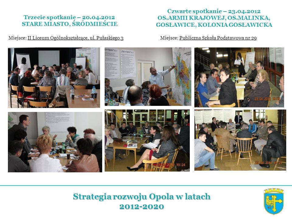 Trzecie spotkanie – 20.04.2012 STARE MIASTO, ŚRÓDMIEŚCIE Miejsce: II Liceum Ogólnokształcące, ul. Pułaskiego 3 Strategia rozwoju Opola w latach 2012-2