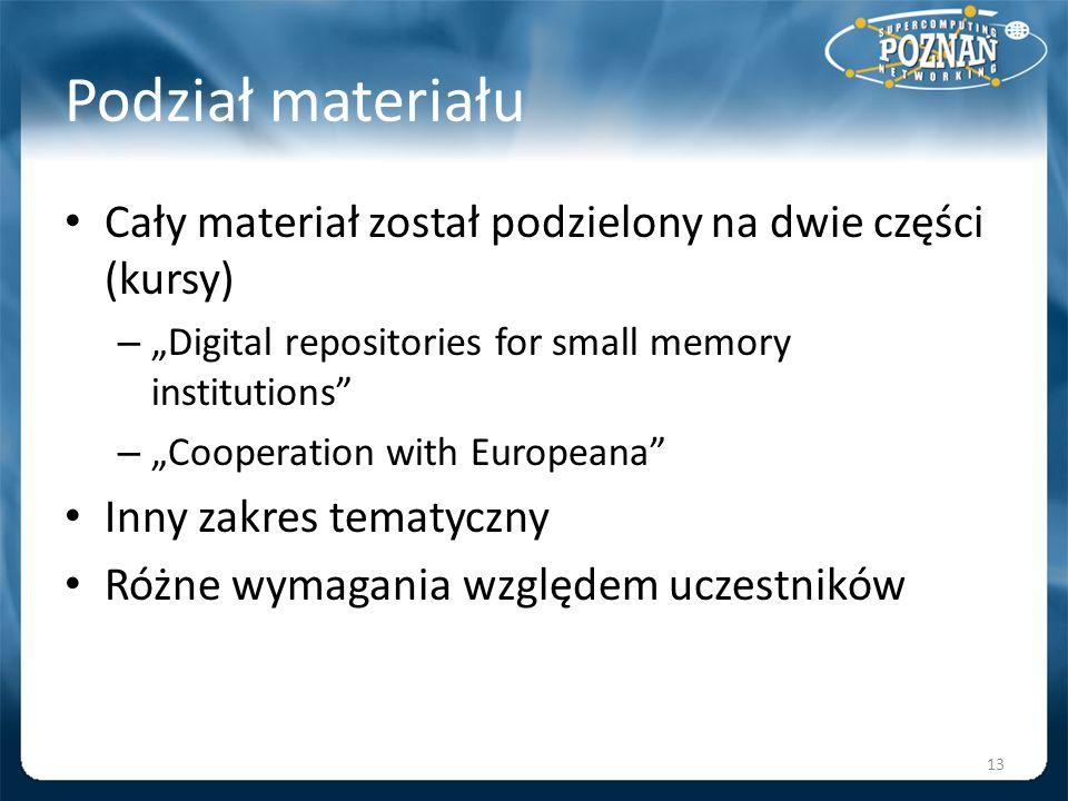 Podział materiału Cały materiał został podzielony na dwie części (kursy) –Digital repositories for small memory institutions –Cooperation with Europea
