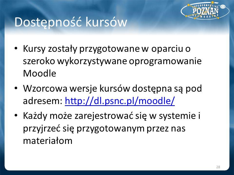 Dostępność kursów Kursy zostały przygotowane w oparciu o szeroko wykorzystywane oprogramowanie Moodle Wzorcowa wersje kursów dostępna są pod adresem: