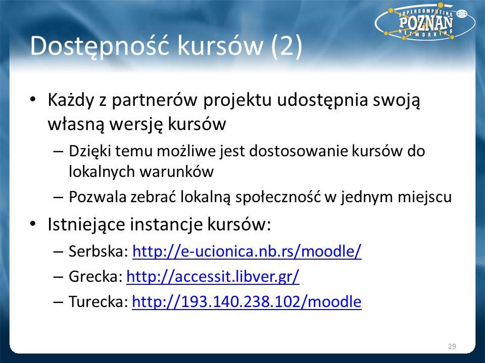 Dostępność kursów (2) Każdy z partnerów projektu udostępnia swoją własną wersję kursów – Dzięki temu możliwe jest dostosowanie kursów do lokalnych war