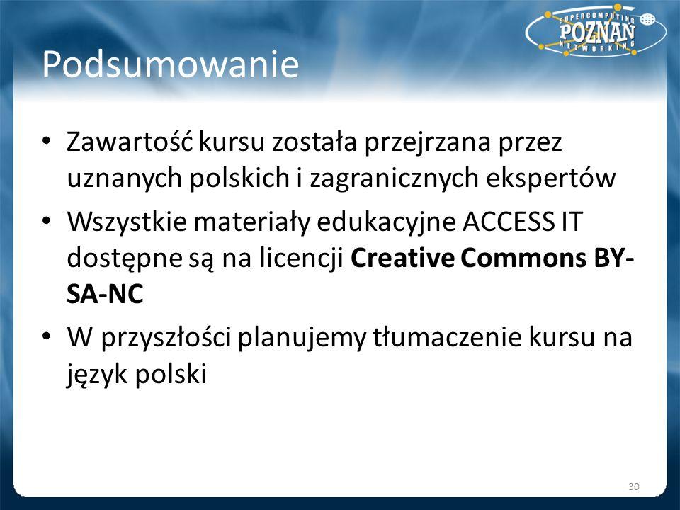 Podsumowanie Zawartość kursu została przejrzana przez uznanych polskich i zagranicznych ekspertów Wszystkie materiały edukacyjne ACCESS IT dostępne są