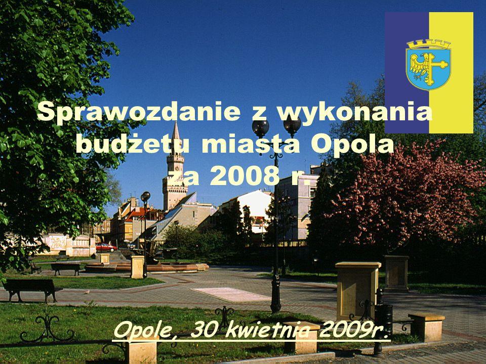 Sprawozdanie z wykonania budżetu miasta Opola za 2008 r. Opole, 30 kwietnia 2009r.