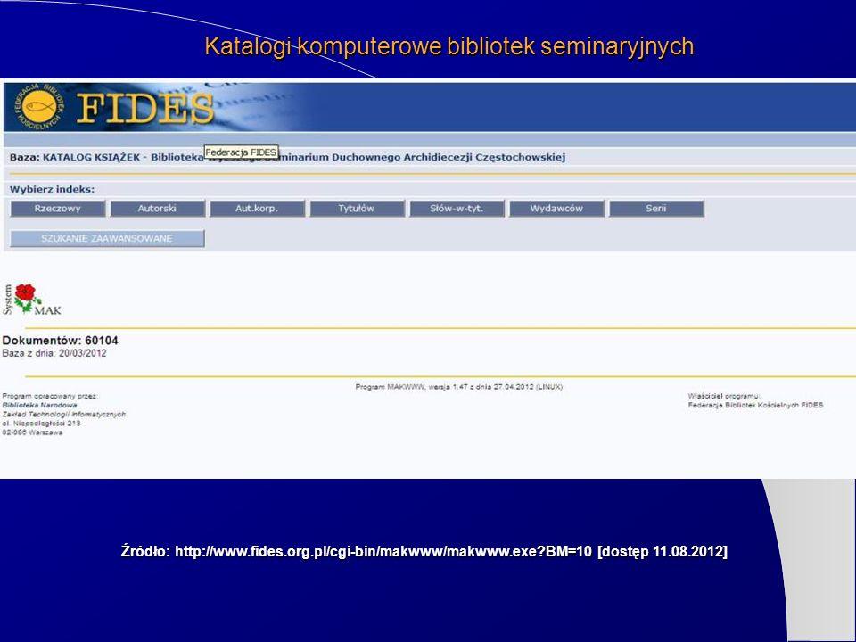 Źródło: http://www.fides.org.pl/cgi-bin/makwww/makwww.exe?BM=10 [dostęp 11.08.2012] Katalogi komputerowe bibliotek seminaryjnych