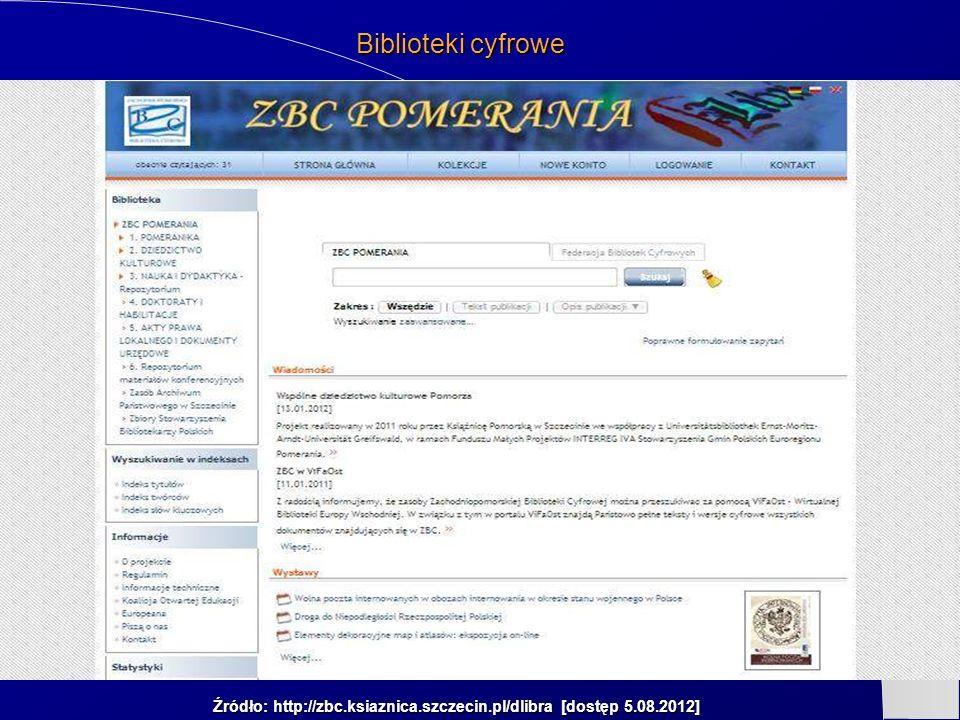 Źródło: http://zbc.ksiaznica.szczecin.pl/dlibra [dostęp 5.08.2012] Biblioteki cyfrowe