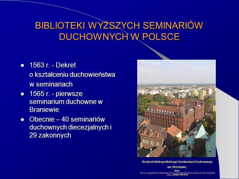 BIBLIOTEKI WYŻSZYCH SEMINARIÓW DUCHOWNYCH W POLSCE 1563 r. - Dekret o kształceniu duchowieństwa w seminariach 1565 r. - pierwsze seminarium duchowne w