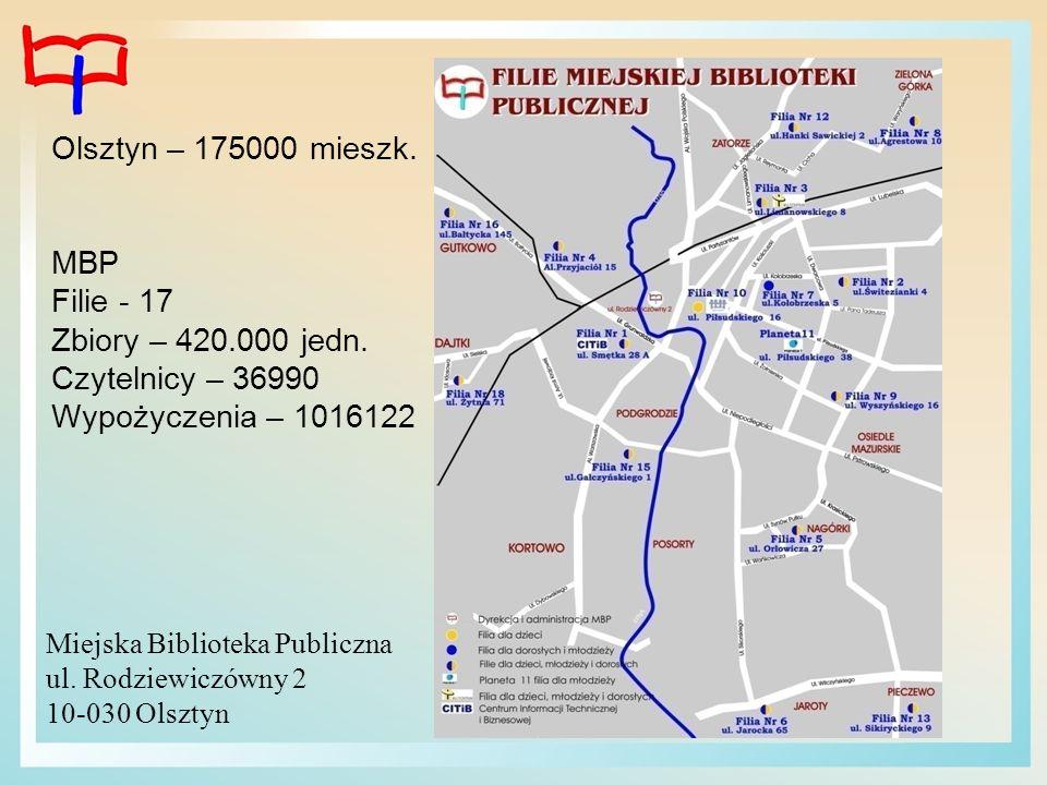 Olsztyn – 175000 mieszk. MBP Filie - 17 Zbiory – 420.000 jedn. Czytelnicy – 36990 Wypożyczenia – 1016122 Miejska Biblioteka Publiczna ul. Rodziewiczów