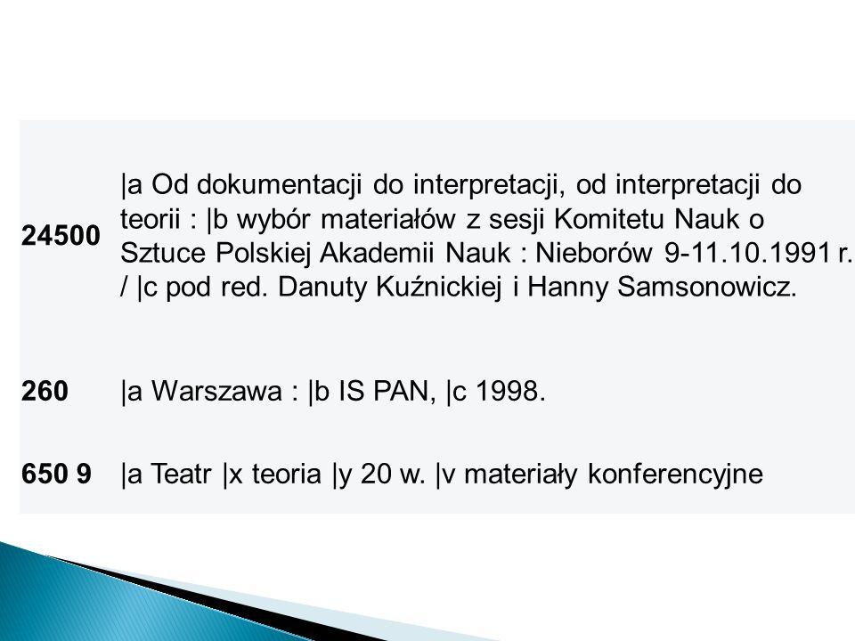 24500 |a Od dokumentacji do interpretacji, od interpretacji do teorii : |b wybór materiałów z sesji Komitetu Nauk o Sztuce Polskiej Akademii Nauk : Ni