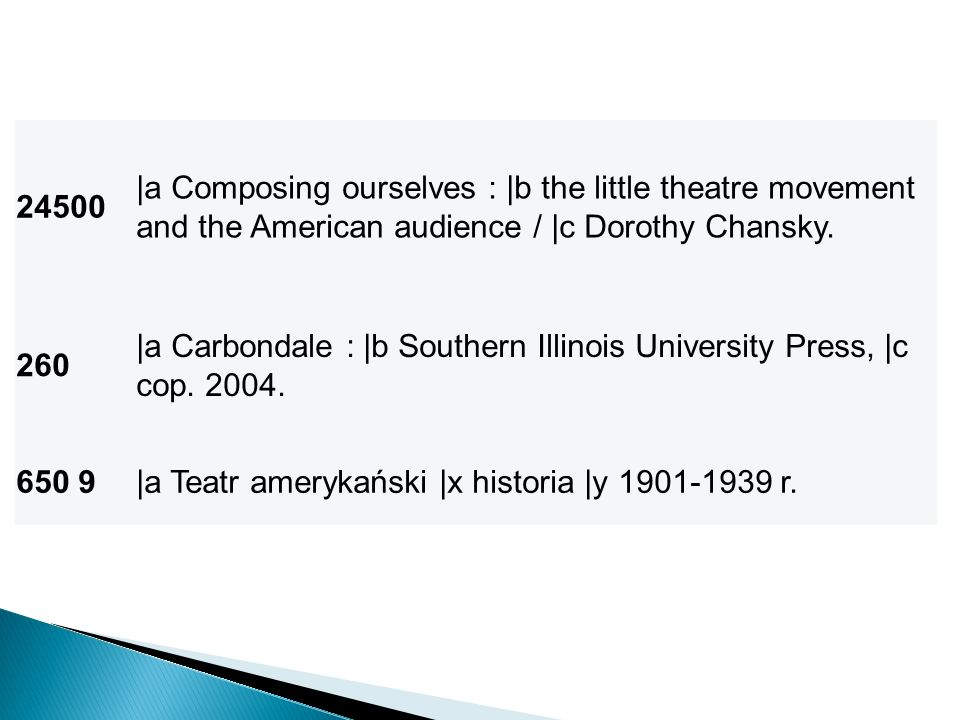 24500 |a Composing ourselves : |b the little theatre movement and the American audience / |c Dorothy Chansky. 260 |a Carbondale : |b Southern Illinois