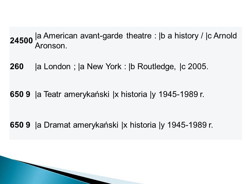 24500 |a American avant-garde theatre : |b a history / |c Arnold Aronson. 260|a London ; |a New York : |b Routledge, |c 2005. 650 9|a Teatr amerykańsk