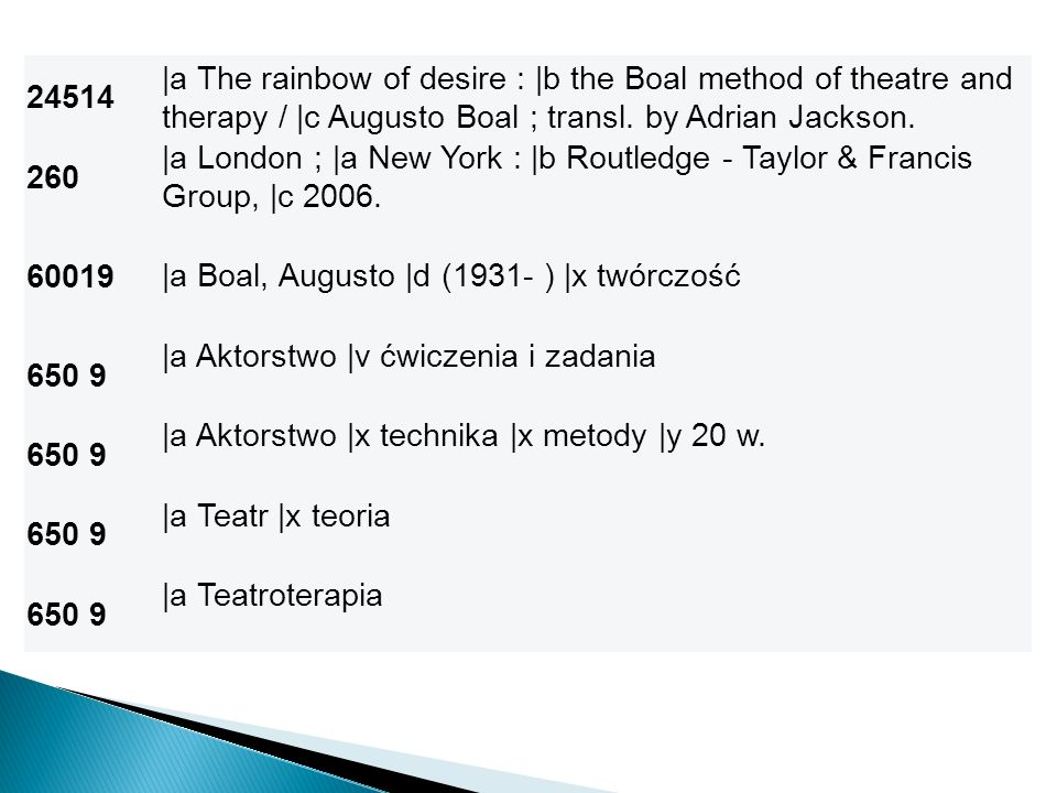 24514 |a The rainbow of desire : |b the Boal method of theatre and therapy / |c Augusto Boal ; transl. by Adrian Jackson. 260 |a London ; |a New York
