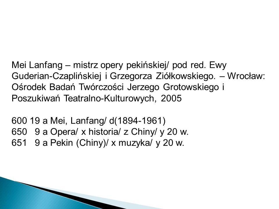 Mei Lanfang – mistrz opery pekińskiej/ pod red. Ewy Guderian-Czaplińskiej i Grzegorza Ziółkowskiego. – Wrocław: Ośrodek Badań Twórczości Jerzego Groto