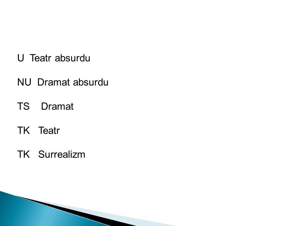 U Teatr absurdu NU Dramat absurdu TS Dramat TK Teatr TK Surrealizm
