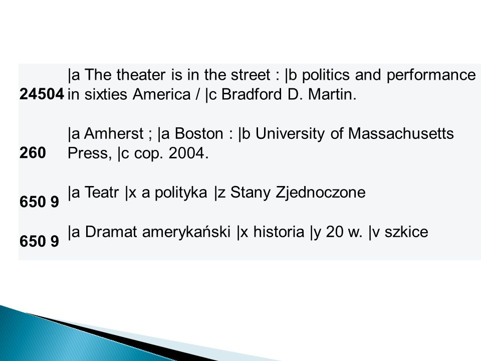 24504 |a The theater is in the street : |b politics and performance in sixties America / |c Bradford D. Martin. 260 |a Amherst ; |a Boston : |b Univer