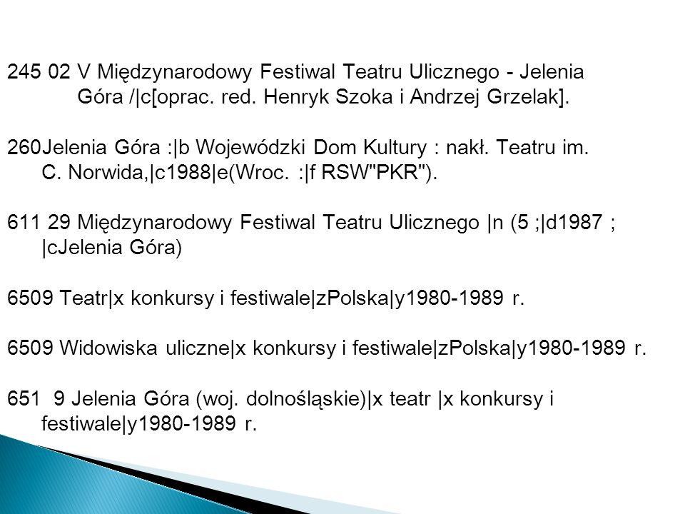 245 02 V Międzynarodowy Festiwal Teatru Ulicznego - Jelenia Góra /|c[oprac. red. Henryk Szoka i Andrzej Grzelak]. 260Jelenia Góra :|b Wojewódzki Dom K