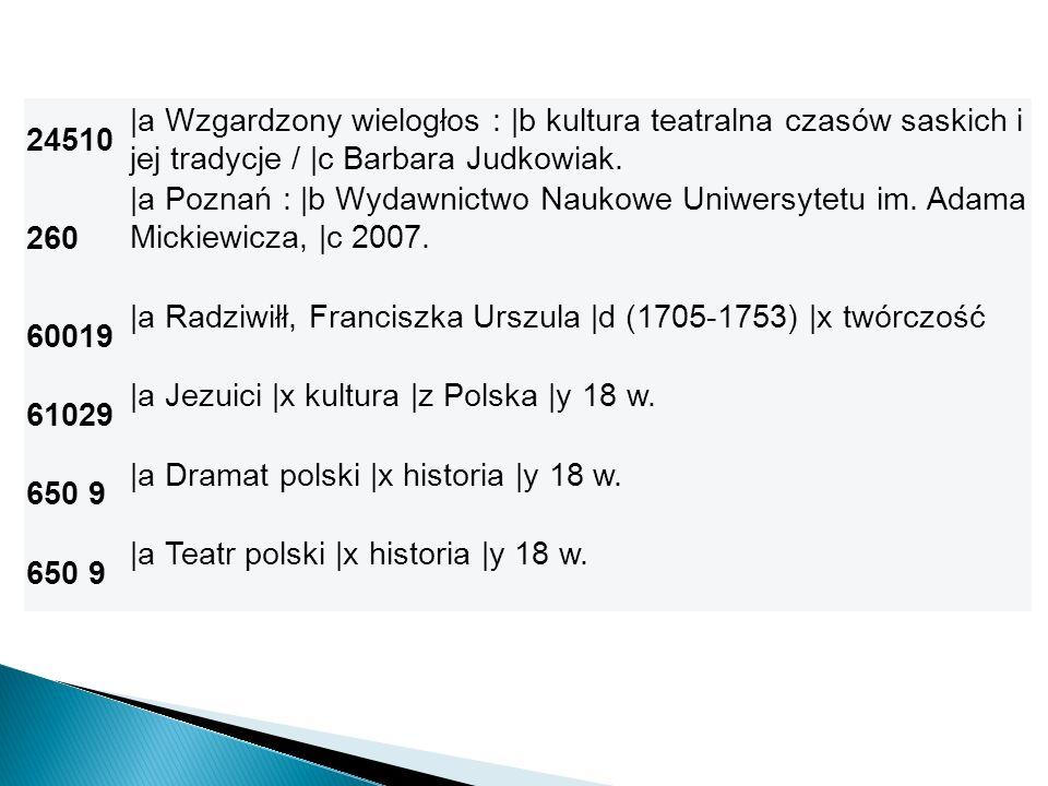 24510 |a Wzgardzony wielogłos : |b kultura teatralna czasów saskich i jej tradycje / |c Barbara Judkowiak. 260 |a Poznań : |b Wydawnictwo Naukowe Uniw