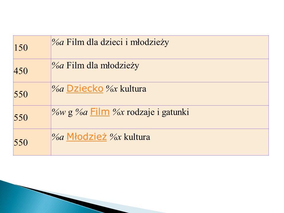 150 %a Film dla dzieci i młodzieży 450 %a Film dla młodzieży 550 %a Dziecko %x kultura Dziecko 550 %w g %a Film %x rodzaje i gatunki Film 550 %a Młodz