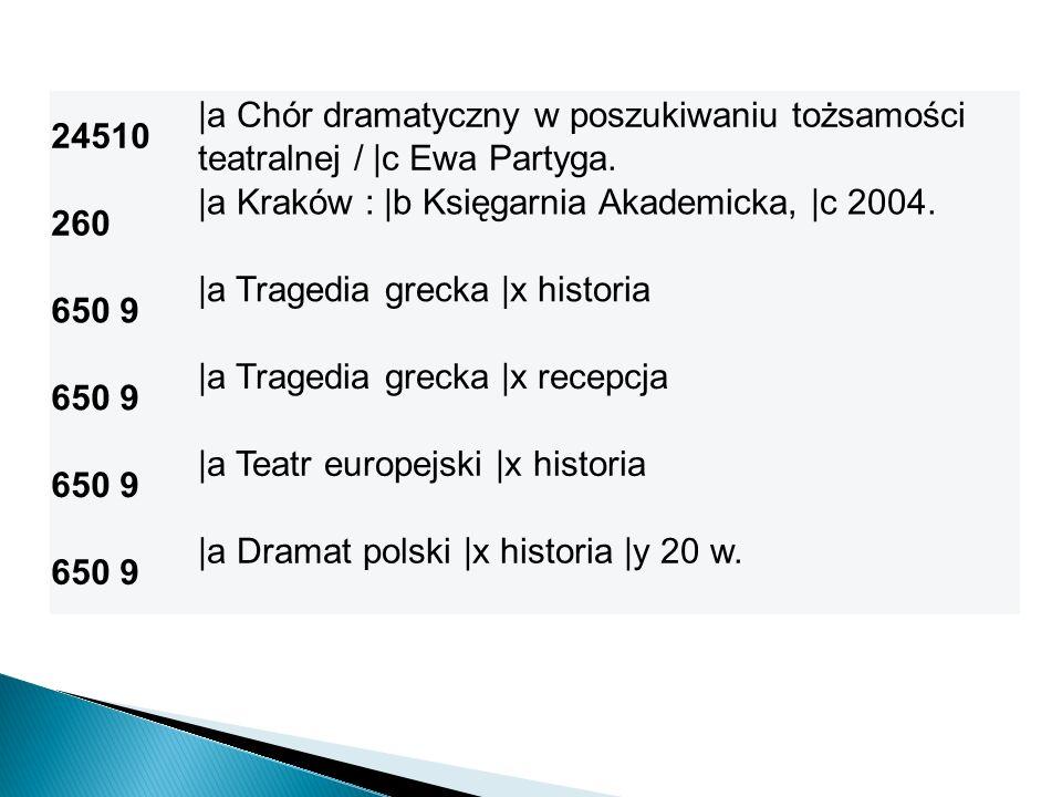 24510 |a Chór dramatyczny w poszukiwaniu tożsamości teatralnej / |c Ewa Partyga. 260 |a Kraków : |b Księgarnia Akademicka, |c 2004. 650 9 |a Tragedia