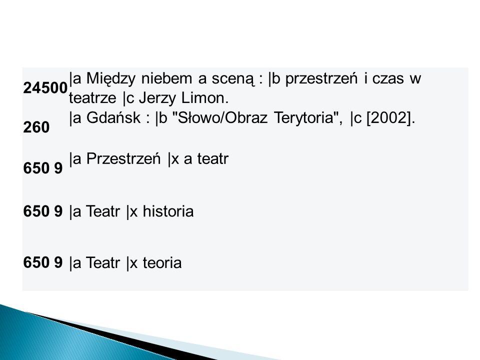 24500 |a Między niebem a sceną : |b przestrzeń i czas w teatrze |c Jerzy Limon. 260 |a Gdańsk : |b