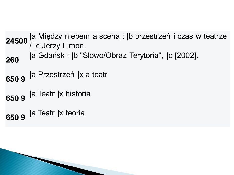 24500 |a Między niebem a sceną : |b przestrzeń i czas w teatrze / |c Jerzy Limon. 260 |a Gdańsk : |b