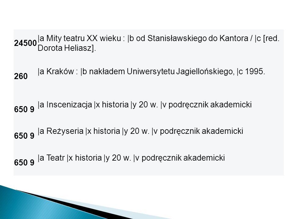 24500 |a Mity teatru XX wieku : |b od Stanisławskiego do Kantora / |c [red. Dorota Heliasz]. 260 |a Kraków : |b nakładem Uniwersytetu Jagiellońskiego,