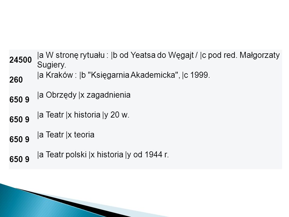 24500 |a W stronę rytuału : |b od Yeatsa do Węgajt / |c pod red. Małgorzaty Sugiery. 260 |a Kraków : |b