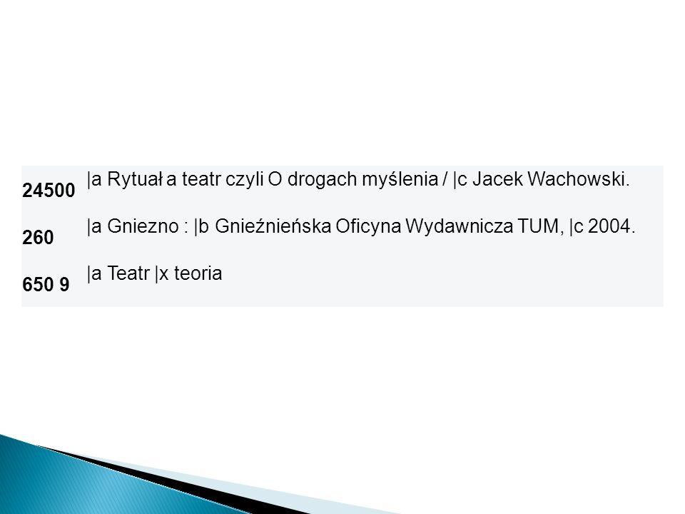 24500 |a Rytuał a teatr czyli O drogach myślenia / |c Jacek Wachowski. 260 |a Gniezno : |b Gnieźnieńska Oficyna Wydawnicza TUM, |c 2004. 650 9 |a Teat