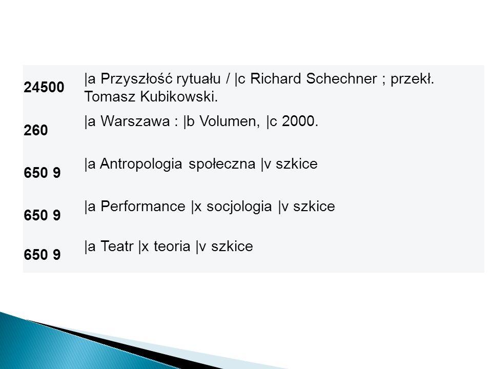 24500 |a Przyszłość rytuału / |c Richard Schechner ; przekł. Tomasz Kubikowski. 260 |a Warszawa : |b Volumen, |c 2000. 650 9 |a Antropologia społeczna